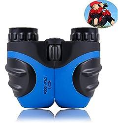Prismáticos infantiles para niños, mini compactos 8 x 21 prismáticos de goma para observación de pájaros y fauna silvestre (Azul)