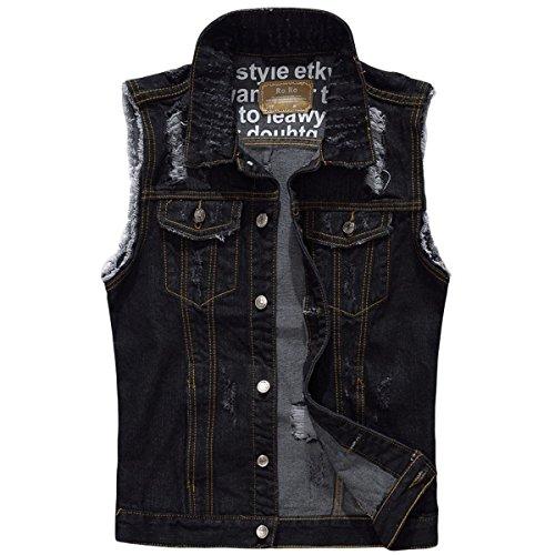 YOUTHUP Herren Jeans Denim Weste fashion Jeans Casual Weste Black( Design 2)