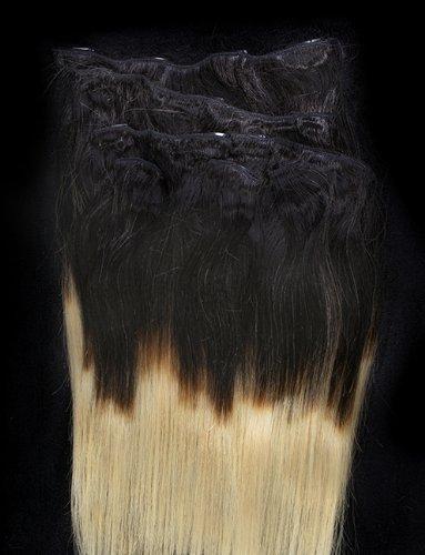 50,8 cm 7 extensions de cheveux 100% Remy Humains Ombre à clipser # T1B/24