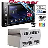 FIAT Bravo 198 - Pioneer AVH-X390BT - Smartphone kompatibles Multimedia Autoradio 2DIN Bluetooth | Autoradio - Einbauset