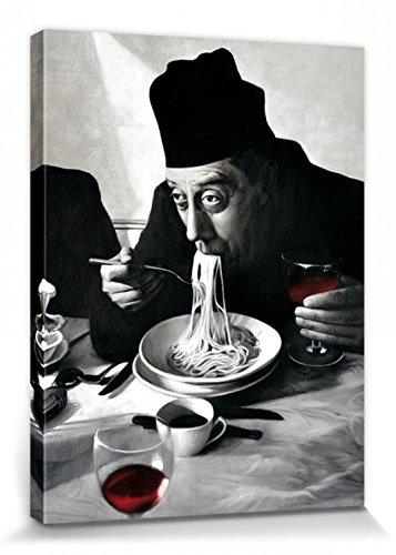 1art1 54502 Kochkunst - Spaghetti, Rotwein, Don Camillo Leinwandbild Auf Keilrahmen 80 x 60 cm