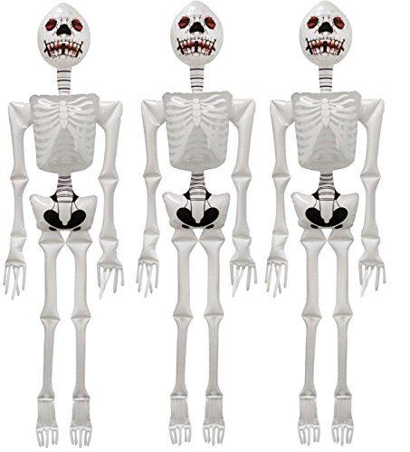 3 x Aufblasbar Skelett Halloween 183cm groß Partydekorationen (Aufblasbares Skelett)