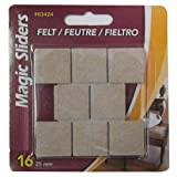 Surface Protectors, Felt Pad, Self-Stick, Oatmeal, 1-In. Square, 16-Pk.