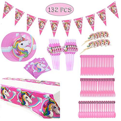 Hangnuo 132PCS unicornio cumpleaños Party Supplies sirve 20-Banner, mantel, Servilletas, pastel Toppers, juego de cena, pajas
