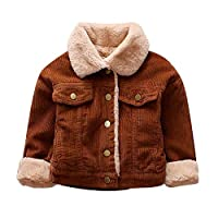 Zerototens Baby Winter Coat,0-3 Years Old Toddler Infant Kids Clothes Boys Girls Solid Lapel Button Plush Coat Jacket Thick Warm Outerwear Clothes Children Windproof Coat