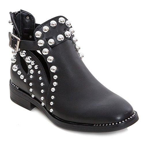 31db85771a994 Toocool - Scarpe Donna Stivaletti Bassi Borchie Biker Boots Primavera  Strass Nuovo G340  40