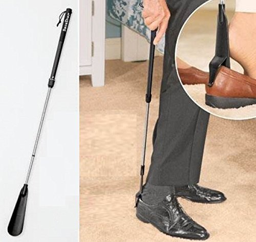 Inditradition Telescopic Long Handle Shoe Horn | With 3 Feet Long Extendable Pole | Built-in Clip (Black)