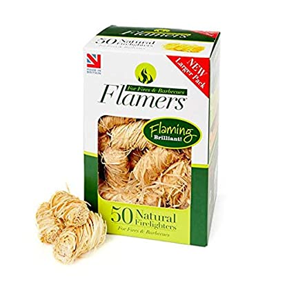 Flamers Natural Firelighters For Woodburners, Stoves, Barbeques and Campfires (200 units) 1
