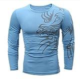 YunYoud Herren Pullover Männer Mode Drucken Tops O-Ausschnitt Lange Ärmel T-Shirt Beiläufig Blusen Frühling Herbst Winter Sweatshirts Beliebt Streetwear