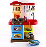 "deAO Toddler Kitchen Playset ""My Little Chef"" With 30 Accessories Role Playing Game in RED"