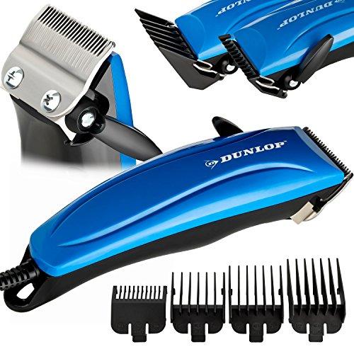 Dunlop Pro Haarschneidemaschine   Haarschneider m. Stufenregelung   präzise Schnitte  4 Aufsatzkämme 3-12mm   ergonomischer Griff   Klingen aus rostfreiem Edelstahl   inkl. Schere, Kamm, Öl (Blau)