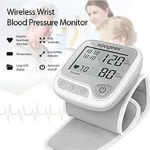 Koogeek Misuratore Pressione da Polso Digitale, Sfigmomanometro Misurazione automatica LCD, Macchina wireless per la pressione sanguigna con modalità di memoria per dispositivi APP da iOS e Android