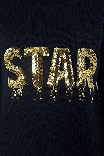 Brave Soul FEMMES NOËL FEMMES Festif Premium Pull Noël neige neuf 8-16 étoile doré noir
