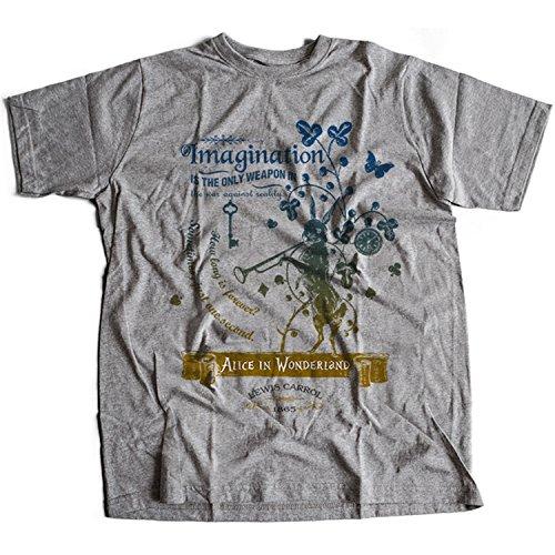 Flamentina 5016g Alice In Wonderland Mens T-Shirt Lewis Carroll White Rabbit Cheshire Cat Fantasy Children Adventures