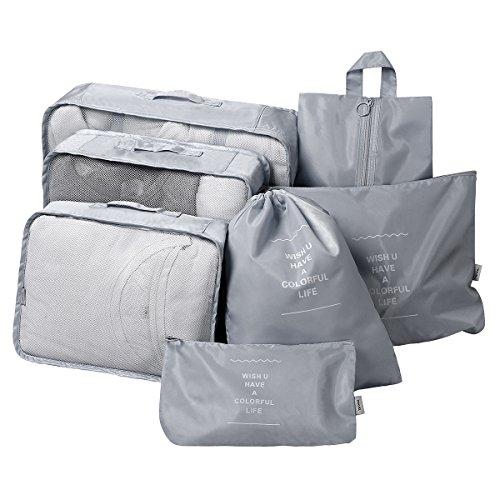 Packing Cubes Set 7-teilig, Faxsthy Packwürfel Kleidertasche Kofferorganizer Packtaschen für Koffer Reisetasche Rucksack Spor...