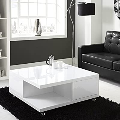 Tiffany White High Gloss Square Storage Coffee Table