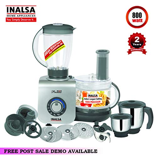 Inalsa Maxie Premia 800-Watt Food Processor with 3 Jars (Grey PU Spray Painted)
