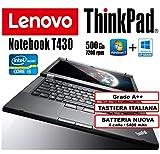 Lenovo - Notebook ThinkPad T430 - Core i5, 4Gb RAM, 500Gb HHD, 14'HD+ (1600x900) Con Batteria Nuova (Ricondizionato Certificato)