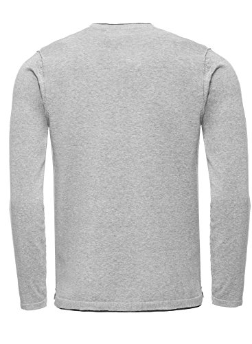 JACK & JONES Herren Pullover Joreasy Knit Crew Neck Grau (Light Grey Melange Fit:Knit Fit)