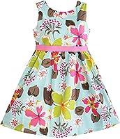 K91 Girls Dress Blue Flower Print Children Clothing Size 4-5 Y