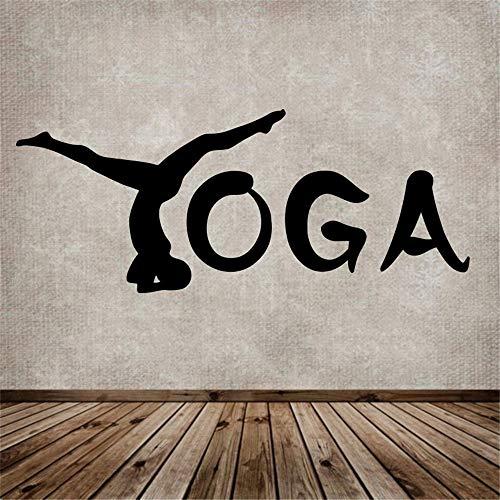 Yoga Vinyl Wandkunst Wanddekoration Bewegung abnehmbare Yoga dekorative Aufkleber Mädchen Raumdekoration lila 40x100cm