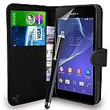 fi9Schutzhülle für Sony Xperia M2D2303/D2306Flip Wallet PU-Leder Case Cover Tasche + Displayschutzfolie + Eingabestift
