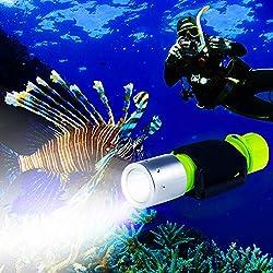 BlueFire Lampe de Plongée étanche, 1100 Lumen CREE XM-L2 Lampe de Poche Super Lumineux Submarine Plongée Lumière Lampes Torches pour l'extérieur sous Les Sports Nautiques (Jaune)