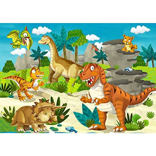 Fotomural, 300x 210cm Premium Plus fotográfico pintado-cuadro de pared-My First dinosaurios-Papel pintado para habitación infantil Dino dinosaurios prehistóricos Trex-No. 119