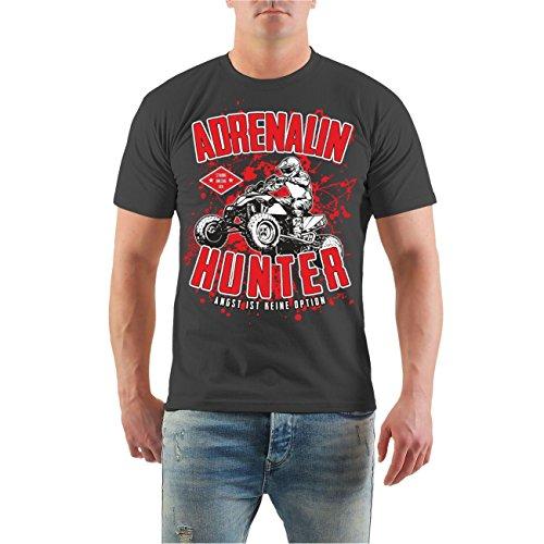 Männer und Herren T-Shirt Adrenalin Hunter - Angst ist keine Option Größe S - 8XL Aschgrau