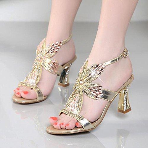 SUHANG Sandales Attaches À Créneaux avec Bold, Et Insérer Le Foret Sandales Printemps Wild 33 Mètres De Forage d'eau Femmes Chaussures À Haut Talon