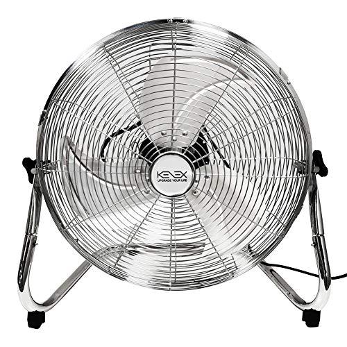 KENEX Bodenventilator 60 cm/Hochgeschwindigkeits Windmaschine 120 W / 220V / Metall Chrome / 3 Laufgeschwindigkeiten