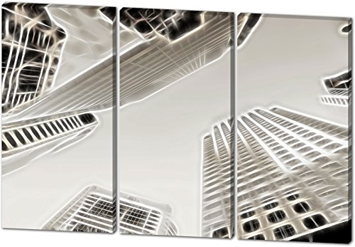 Skyline, Light Effect, schönes und hochwertiges Leinwandbild zum Aufhängen in XXL - 3 Teiler mit 120cm x 80cm, echter Holzrahmen, effektiver Pigmentdruck, modernes Design für Ihr Büro oder Zimmer