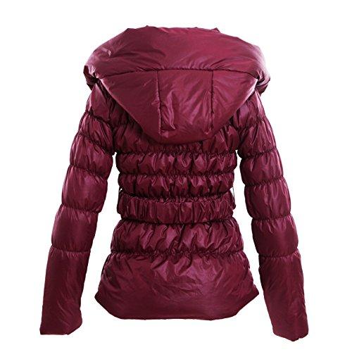 Piumino donna giaccone giubbotto cappotto cappuccio imbottito nuovo CJ-1835 Bordeaux