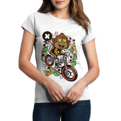 C587WCNTW Damen T-Shirt Monkey Downhill Bikes Racing Team Club Shop Born to Ride Pedal Pusher Full Speed Legend Classic(Large,White) -