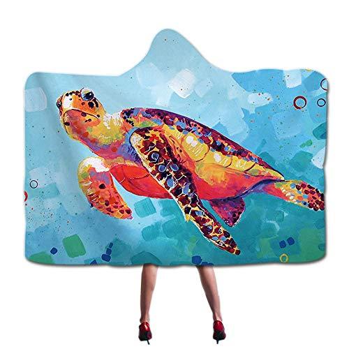 Turtle Fur Kinder Fleece (ARTS Tragbare mit Kapuze Decke Mode 3D gedruckt Design Sherpa Fleece gemütliche Decke mit Kapuze Erwachsene Kinder Decken, Muster 60x80 Zoll (150x200cm) Tier,Turtle)