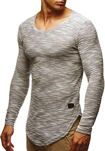 LEIF NELSON Herren Langarm-Shirt Slim Fit | Männer Sweat-Shirt mit Rundhals-Ausschnitt | Longsleeve Basic Shirt mit U-Neck
