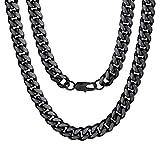 ChainsPro Edelstahl Herren 10mm Breite Panzerkette Halskette Schwarz Schwer Kette ohne Anhänger