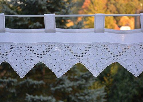 Scheibengardine mit gehäkelter Spitze Bistrogardine Häkelkante Panneaux Landhaus Spitze Shabby 30 x 150 cm Weiß -