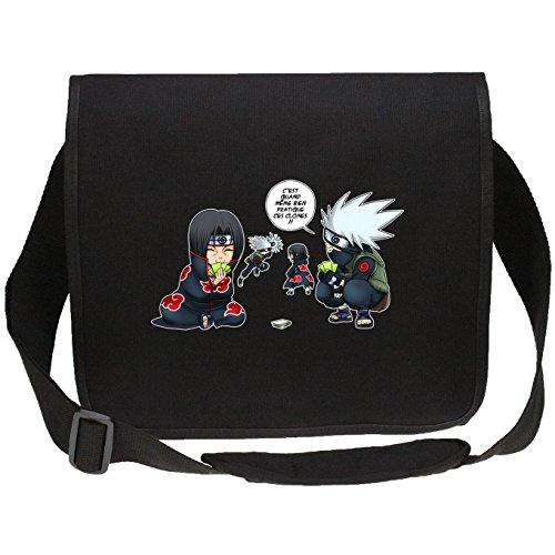 Sac bandoulière Canvas Noir Naruto parodique Kakashi et Itachi : Combat de Ninjas ! (Parodie Naruto)