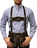 German Wear Trachtenhemd mit Stehkragen für Trachtenlederhosen Dunkelblau/kariert, Hemdgröße:XL