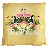 Mojawo Outdoor Zierkissen Dekokissen Sofakissen Kissen 100% Polyester Wasserabweisend gelb Tropical Motiv 45x45cm