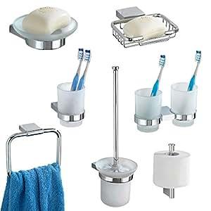 accessoire salle de bain amazon wenko s rie d 39 accessoires de salle de bain ambra 7 pcs