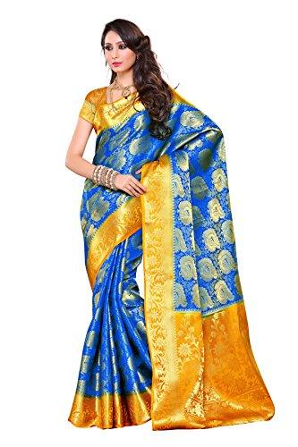 Mimosa Women's Silk Saree (201-Rblu-Gld_Royal Blue)