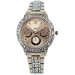 NY London Women's Diamante Rose Gold Plated Chronograph Jeweled Metal Analog Watch Quartz