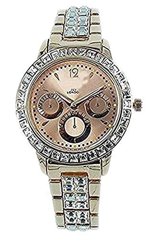 NY London Women's Diamante Rose Gold Plated Chronograph Jeweled Metal