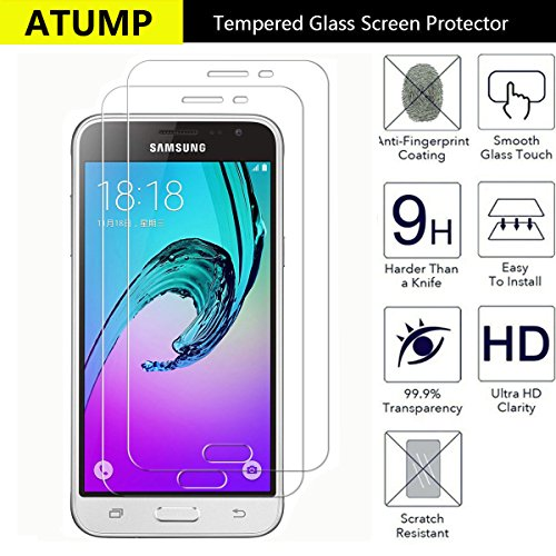 Galaxy J3 2016 Screen Protector, Atump[2 Pack] Premium Tempered Glass Screen Protector for Motorola Moto G4 Plus 9H Hardness and Easy Bubble-Free Installation Invisible Shield Film Guard Cover