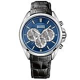 Hugo Boss 1512882 Chronograph Uhr Herrenuhr Lederarmband Edelstahl 5 bar Analog Chrono Schwarz