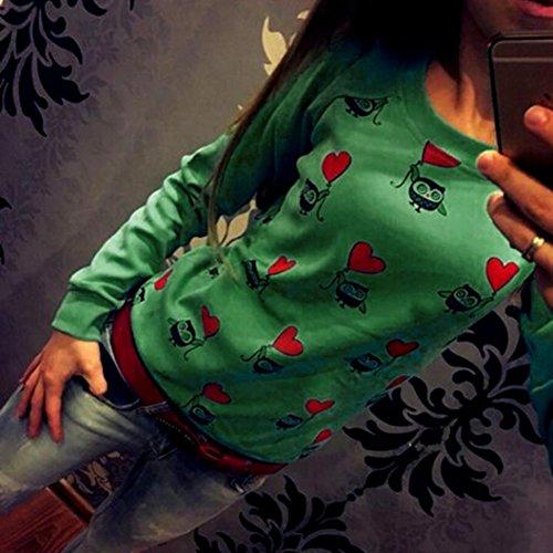 MuSheng TM Joli T - Shirt Imprimé, Manches Longues Chouette Manteau Vert