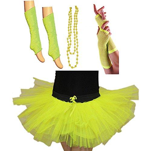 GIRLS NEW NEON UV TUTU GLOVES LEG WARMERS BEADS /& BANGLES FANCY DRESS HEN PARTY