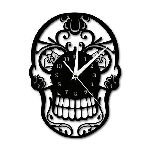 (ZYLBDNB Einfache Moderne Wanduhr, Tag der Toten Zucker-Schädelwand mexikanische Skul Wanduhr Floral Candy Skull Decorative Hanging Wall Watch)